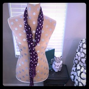 Purple and white polka dot scarf 🧣 with fringe